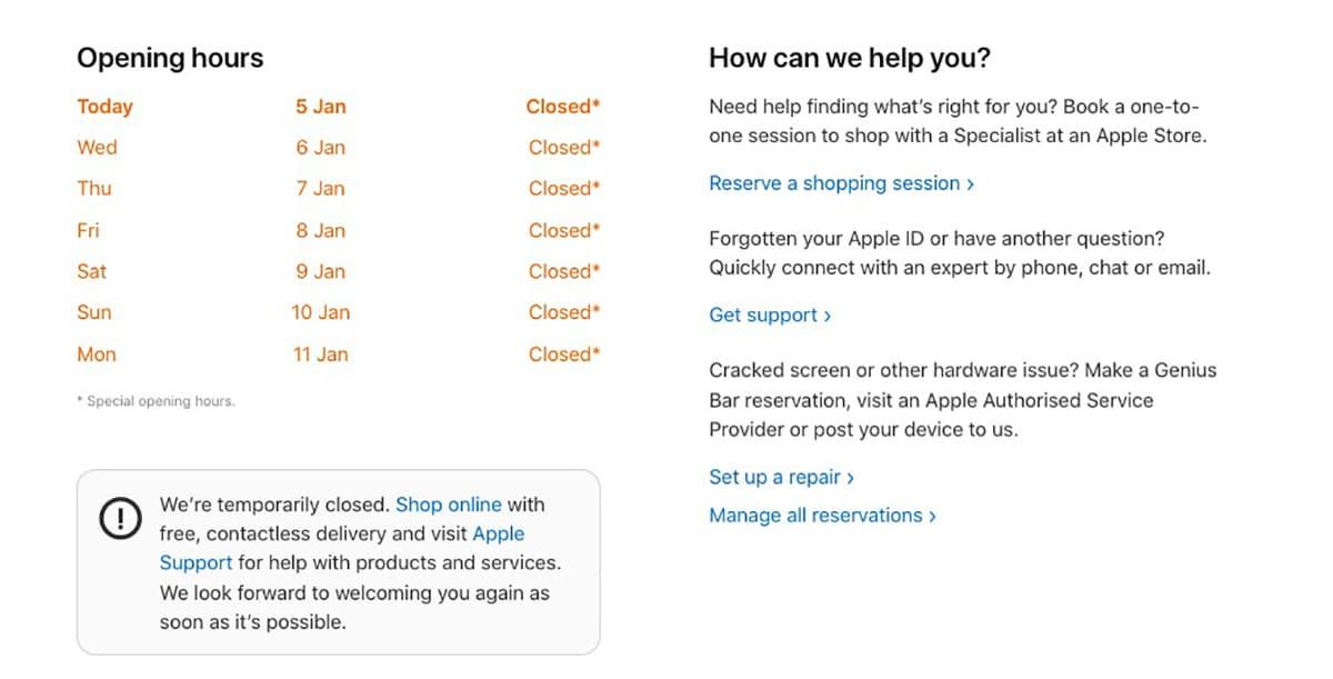 Apple Store Reino Unido
