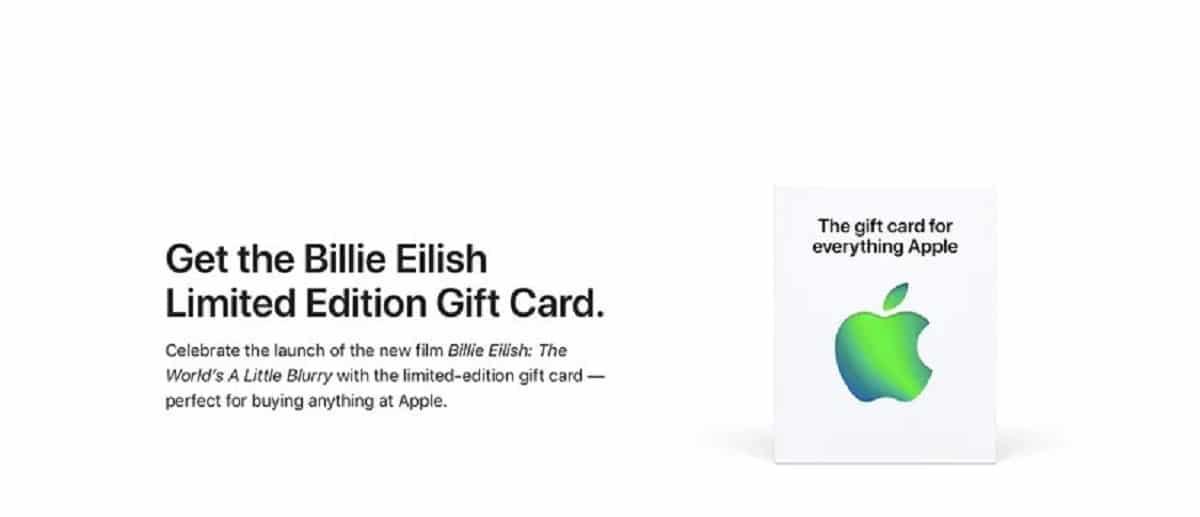 Apple lanza la tarjeta regalo en honor a Billie Eiish