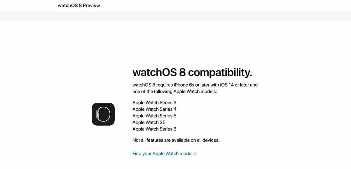 Apple Watch Series 3 watchOS 8