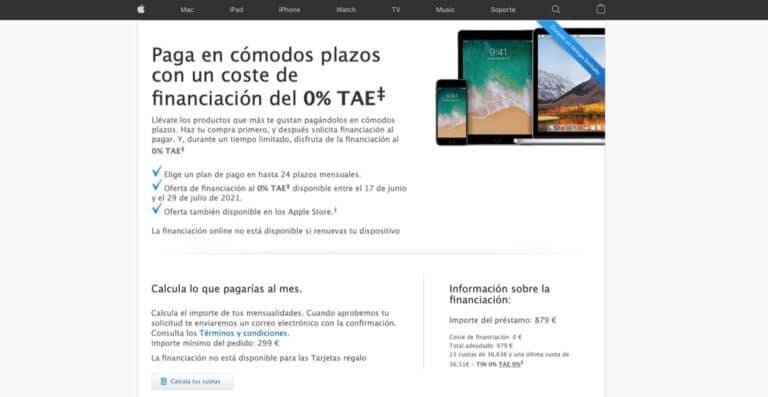 Financiación sin coste Apple