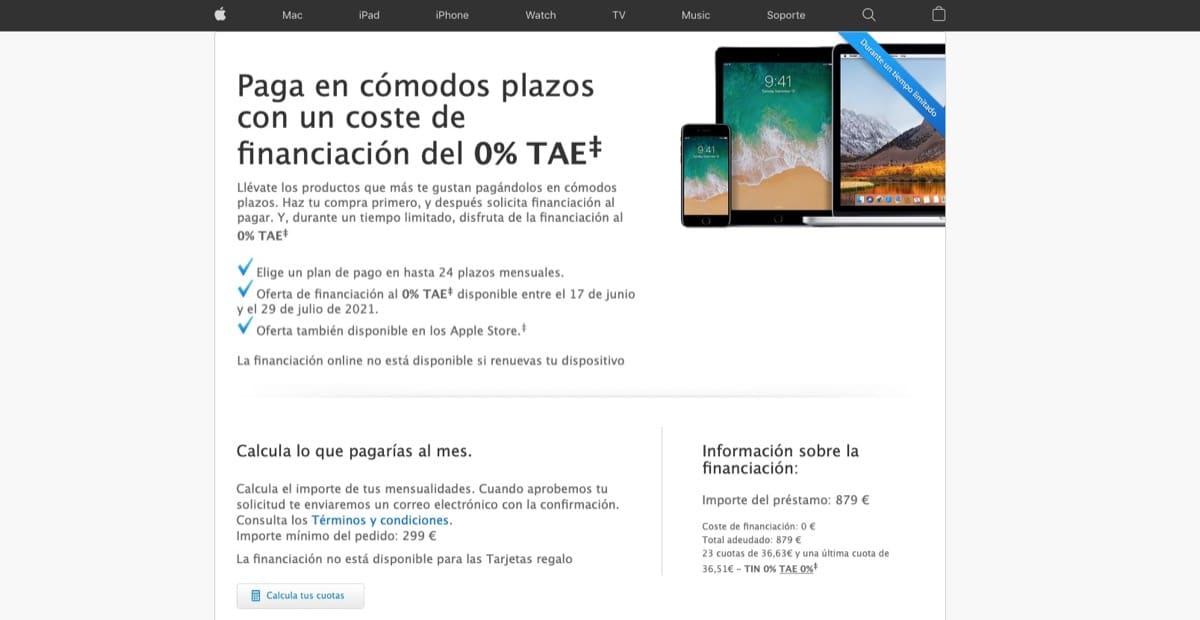 Financiación gratis de Apple para todo