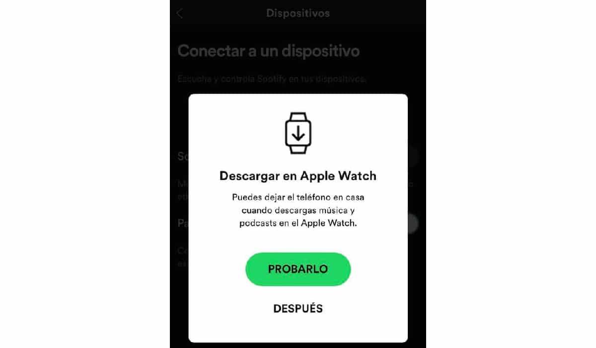Descargar canciones Spotify en el Apple Watch