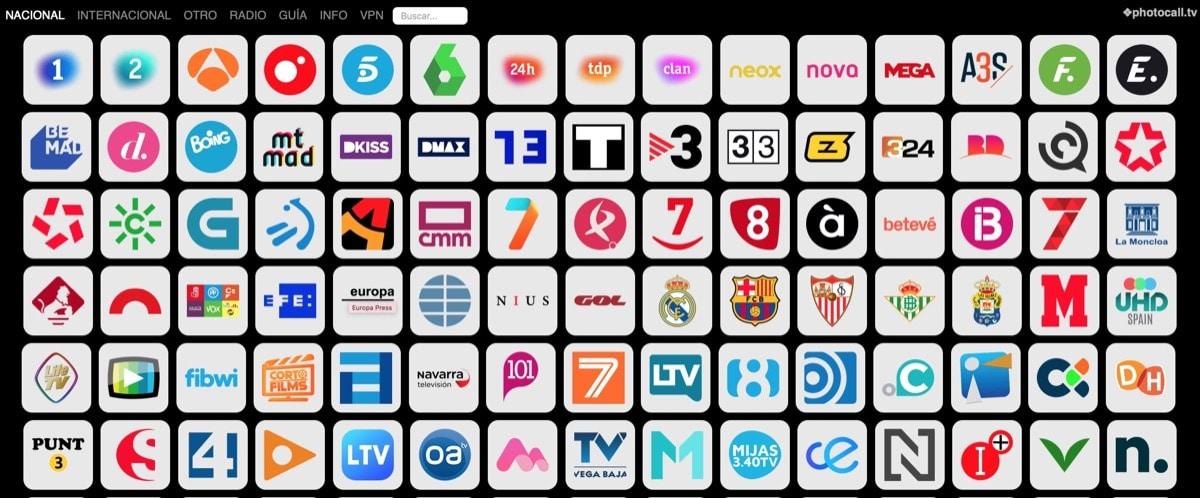 Miles de Canales gratis en Photocall TV