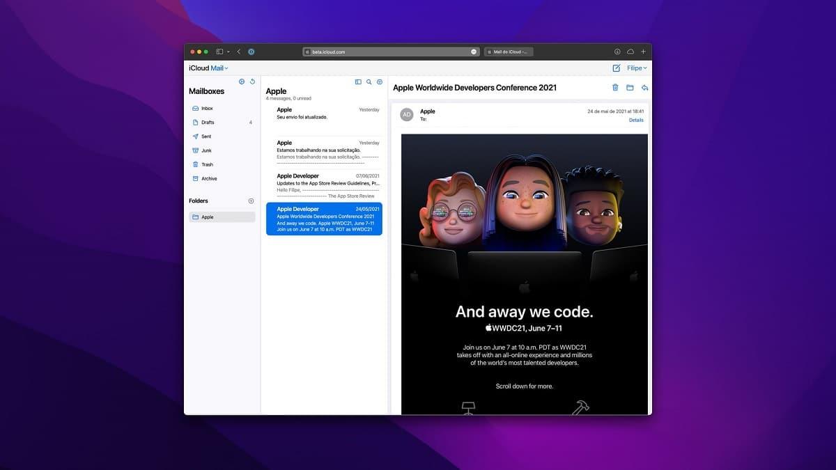 La aplicación web iCloud Mail